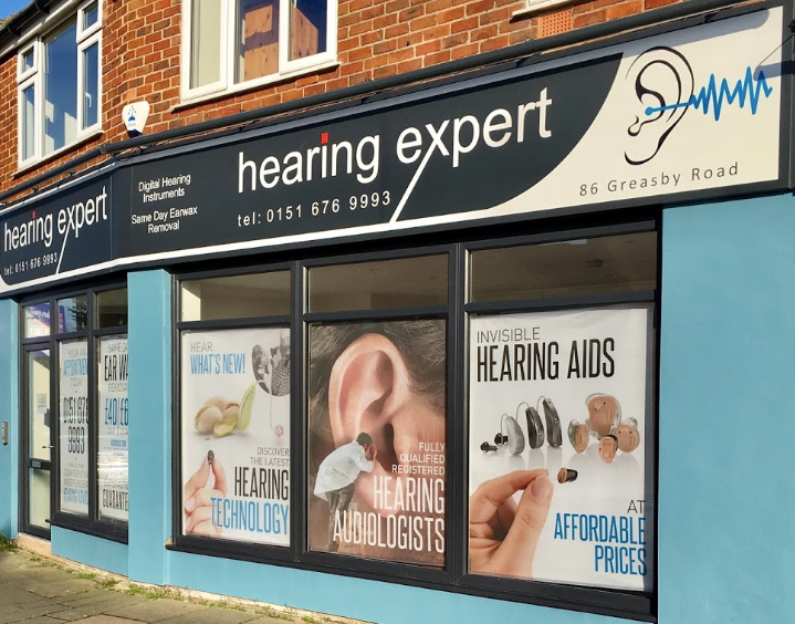 hearing expert wirral shop front, specialises in hearing aids and ear wax removal.